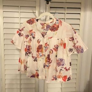 Free People Floral button down